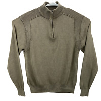 F/X Fusion Mens Size M Light Brown 1/4 Zip Ribbed Shoulders Long Sleeve Sweater