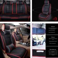 All seasons ! 7pcs 5-Seats Car Accessories Full Set Seat Cover PU- Leather
