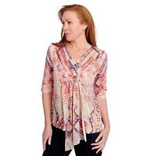 NEW - One World Micro Jersey Elbow Sleeved Lace Backlique V-Neck Top - S
