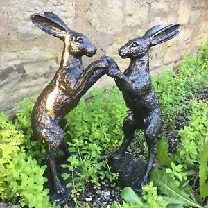 Boxing Hares Home Or Garden Statues Figurines Bronze Effect.