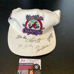 1995 Atlanta Braves World Series Champs Multi Signed Hat Chipper Jones JSA COA