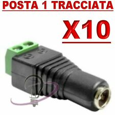 10 X CONNETTORE SPINOTTO ALIMENTAZIONE MASCHIO A VITE RAPIDO PER TELECAMERE LED
