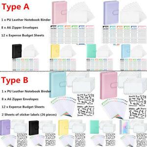 PU Leather Notebook Binder Budget Planner Organizer 6 Ring Binder Cover 26 Label