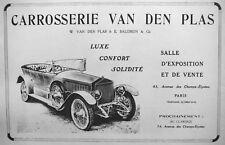 PUBLICITÉ DE PRESSE 1919 CARROSSERIE VAN DEN PLAS LUXE CONFORT SOLIDITÉ