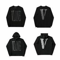 Men Vlone Long Sleeves T-shirt Reflective big V Hooded sweater jacket US size