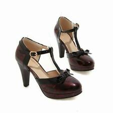 Sweet Lady's Patent Leather Mary Janes Bowknots Buckle Strap Block Heels Shoes