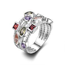 Zircon Ring Anniversary Jewelry Size 8 Fashion Women Simple Silver Multi Color
