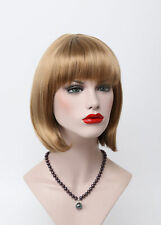 Light Strawberry Blonde  BOB Short Straight Bangs Women Everyday Hair Full Wig