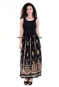 Indian Sequin Skirt Boho Bollywood Belly Dance Hippie Gypsy Rayon Maxi Skirts