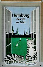 Hamburg das Tor zur Welt Blechschild Schild 3D geprägt Tin Sign 20 x 30 cm
