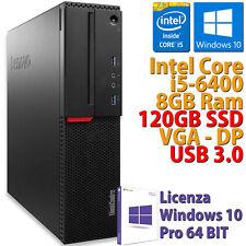 PC COMPUTER RICONDIZIONATO LENOVO M800 CORE i5-6400 RAM 8GB SSD 120GB WIN 10