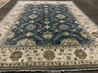10x14 HANDMADE BLUE WOOL RUG HAND KNOTTED oriental hand-woven traditional carpet