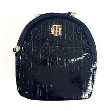 Tommy Hilfiger Black Patent Leather Signature Embossed TH Logo Backpack Bag