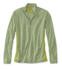 Mens Orvis Trout Bum 0853 Colorblock Quarter-Zip Shirt Large Green Pullover