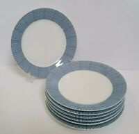 "Set of 7 Royal Doulton London Pacific Blue Dots Salad Plates 9 3/8"""