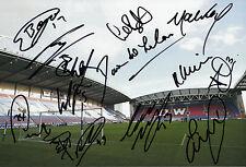 WIGAN ATHLETIC FC 2014/15 SQUAD SIGNED X 15 DW STADIUM PHOTO 1.