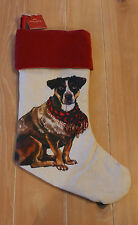 New Pottery Barn Painted Dog TERRIER Christmas Holiday Stocking