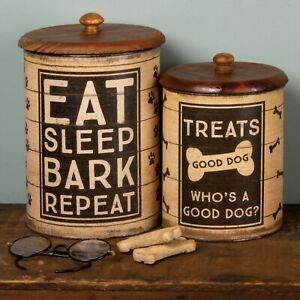Doggie Treats Canister Set with wood Lid - 2