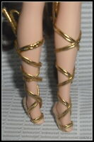 SHOES BARBIE DOLL GODDESS OF BEAUTY  FAUX GOLD FLAT TIE SHOES ACCESSORY CLOTHING
