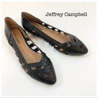 Jeffrey Campbell Black Woven Leather Pointed Toe Flats Womens 8.5 NWOT