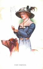 Old Unusual Border Collie Dog & Lady Two Friends Postcard Pc Holland 1930s