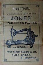 Jones Hand Swan Neck Cat Back Serpentine Sewing Machine Manual c.1890
