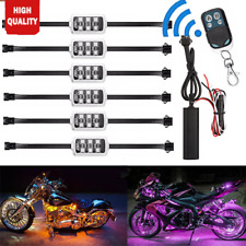 6pc 36 Led Motorcycle Under Glow Light Kit Remote Control Multi-Color Neon Strip