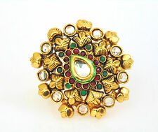 Polki Ethnic Indian Ring Gold Plated Kundn  Adjustable Lovable Jewelry Set