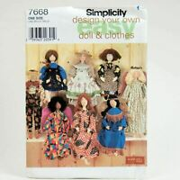 Simplicity 7668 Sewing Pattern Elaine Hiegl Designs Folk Art Doll Clothes Uncut