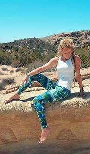 New HAPPY TIE DYE Leggings Teal, Blueberry and Dark Lime XS-XL American Apparel