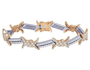 "14k Rose/White Thorn Barbed Wire Real Diamond Designer Bracelet 12MM 8.25"" 8.4CT"
