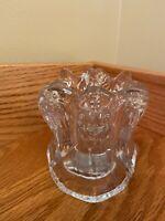 Vintage CRYSTAL Three Sided ANGEL Clear Votive Tea Light Candle Holder Glass EUC