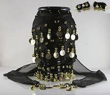 Black Belly Dancing Hip Dance Skirt Ethnic Shawl Scarf Belt Wrap Gold Coins