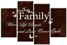 BROWN CREAM CANVAS FAMILY QUOTE WRITING PICTURE 4 PANEL SPLIT WALL ART 100cm