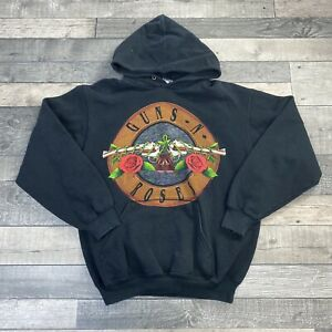 VTG FRUIT OF THE LOOM GUNS & ROSES GRAPHIC PRINT BLACK HOODIE SIZE SMALL
