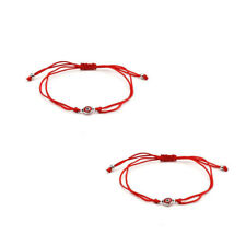 Lot of 2 Red Thread Evil Eye Bracelet String Rope Braided Bangles (BRAEE-RED)