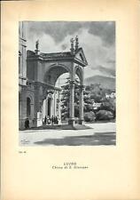Stampa antica LUINO Chiesa di San Giuseppe lago Maggiore 1939 Old antique print