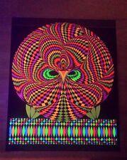 Vintage Wise Owl blacklight poster psychedelic op art Nancy Parker Wespac 1970