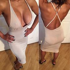 Connie's Sheer See Thru Deep Plunge Spaghetti Strap Beige Nude Midi Dress  L