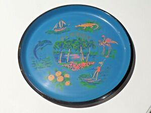 Vintage Florida Souvenir Plastic Round Serving Tray Blue Flamingos Alligator etc