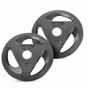"""💪CAP 50LB Olympic Weight Plate Set (2) 25LB Plates Cast Iron 2"""" Inch hole💪"""