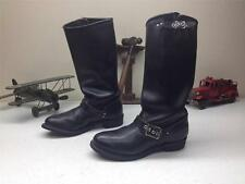 VINTAGE BLACK LEATHER USA DISTRESSED MOTORCYCLE STEEL TOE BIKE BOOTS SZ 8 B