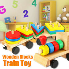 Baby Kids Developmental Toys Wooden Train Truck Geometric Blocks Educational Toy