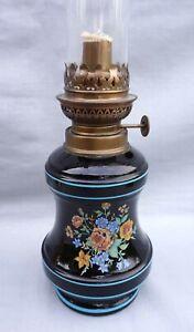 Vintage French Kerosene Oil Lamp Black Glass Transferware Complete