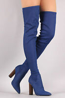 Denim Stretchy Over Knee Thigh High Block Heel Pointy Toe Boots - Blue