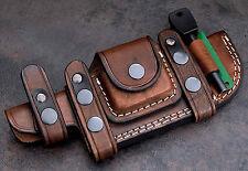 CFK Custom Handmade Brown Leather Horizontal Knife Sheath Wet Stone-Fire Starter