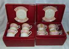 8 Mikasa Bone China HAMPTON COURT PINK* CUPS & SAUCERS* in ORIGINAL BOXES*