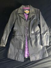 Harley Davidson Women's Long leather jacket Coat Duster Purple Lined S Small