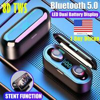 TWS Wireless Earphones Bluetooth Earbuds Mini BT5.0 Headset LED Stereo Headphone