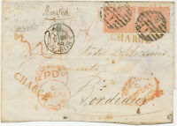 2447 1865 QV 4 D pale red single+multiple postage to FRANCE VERY RARE REGISTERED